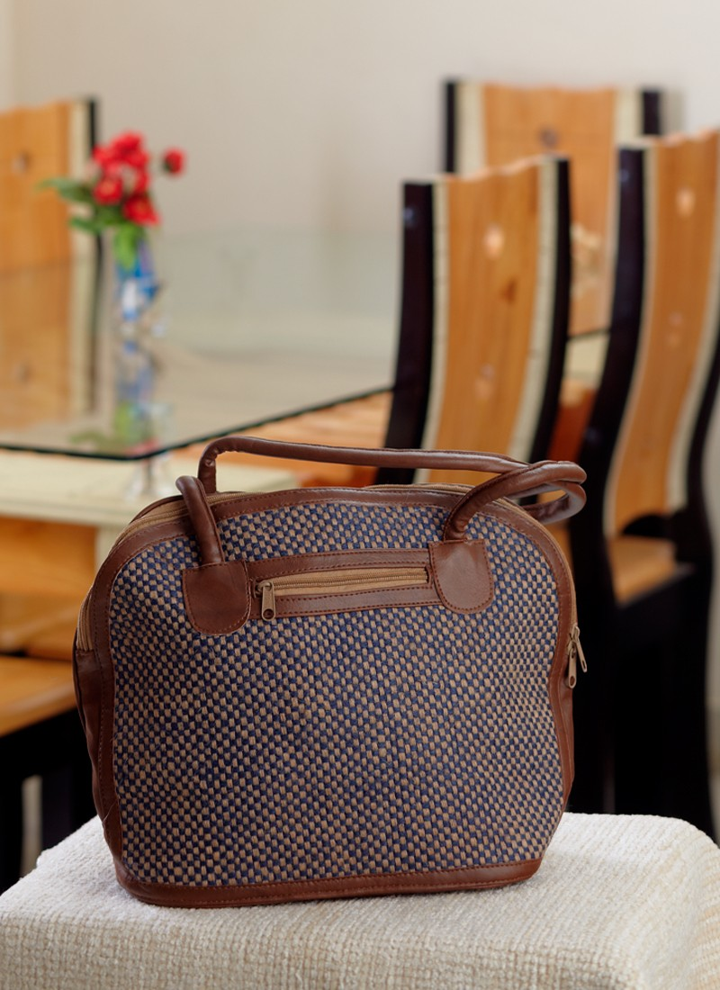 Attractive Brown Handcrafted Bag Of Recycled Jute With Touch Of Leather