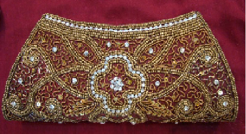 Lovely Brown Clutch With Sequins Work